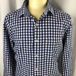 Johnston and Murphy Mens Blue Check XL SS Shirt